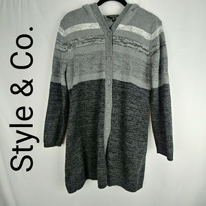 Style & Co. Sweater. Cardigan with Hoodie